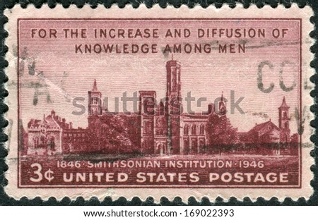 USA - CIRCA 1946: Postage stamp printed in the USA, dedicated to the Centenary of the establishment of the Smithsonian Institution, Washington, shows the building Smithsonian Institution, circa 1946