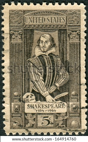 USA - CIRCA 1964: Postage stamp printed in the USA, dedicated to the 400th anniversary of the birth of William Shakespeare, shows writer, playwright and poet William Shakespeare, circa 1964 - stock photo