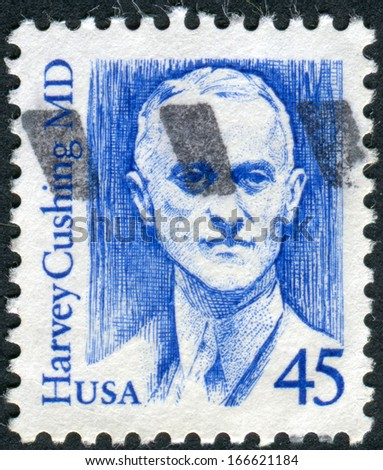 USA - CIRCA 1988: Postage stamp printed in the USA, shows a Harvey Williams Cushing was an American neurosurgeon, circa 1988