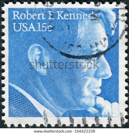 USA - CIRCA 1979: Postage stamp printed in the USA, shows a portrait of a politician and senator, Robert Francis Kennedy, circa 1979 - stock photo