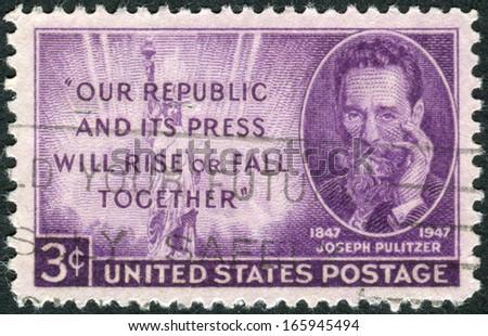 USA - CIRCA 1947: Postage stamp printed in the USA, shows Joseph Pulitzer (birth centenary) and Statue of Liberty, circa 1947 - stock photo