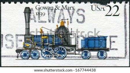 USA - CIRCA 1987: Postage stamp printed in the USA, shows locomotive Gowan & Marx, 1839, circa 1987 - stock photo