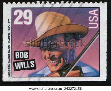"USA - CIRCA 1993: postage stamp printed in United States from the ""American Music Series"" shows James Robert Wills, known as Bob Wills, American Western swing musician  and bandleader, circa 1993.  - stock photo"