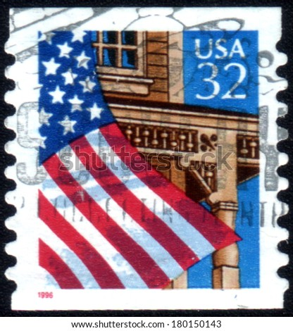 USA - CIRCA 1995: Postage stamp printed in USA, shows Flag Over Field, circa 1995