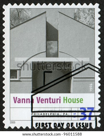 USA - CIRCA 2005: Postage stamp printed in USA shows the image of Vanna Venturi House (Philadelphia, PA). Modern American Architecture, circa 2005 - stock photo