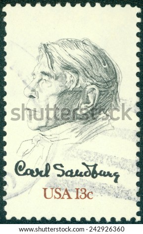 USA - CIRCA 1978: Postage stamp printed in USA, shows the poet, biographer and collector of American folk songs - Carl Sandburg, by William A. Smith, circa 1978 - stock photo