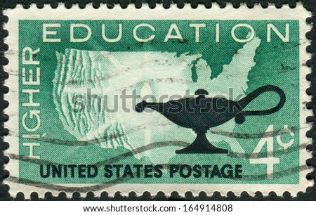 USA - CIRCA 1962: Postage stamps printed in USA, Higher Education Issue, shows Map of US and Lamp, circa 1962 - stock photo