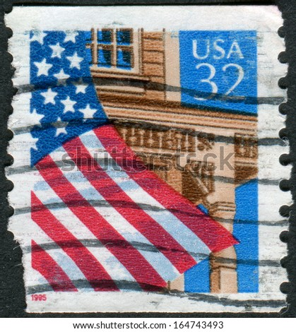 USA - CIRCA 1995: Postage stamps printed in USA, shows the USA national flag over Porch, circa 1995