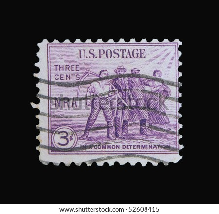USA - CIRCA 1950s: A stamp printed in the USA showing peasants, circa 1950s