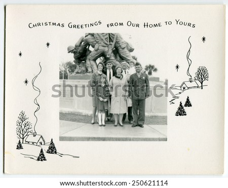 USA - CIRCA 1950s: Reproduction of an antique photo shows military family background on Memorial US Marine Corps. Located in the suburbs of Washington in Arlington County - stock photo