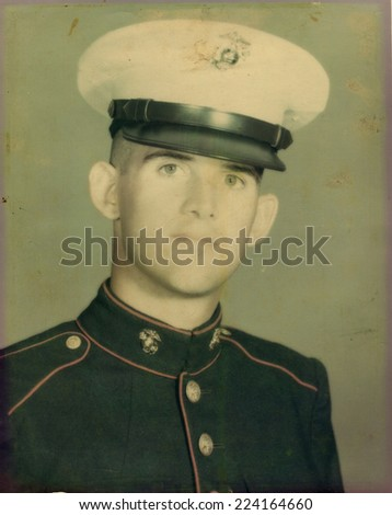 USA- CIRCA 1950s: Vintage photo shows Portrait of US Army soldier.   - stock photo