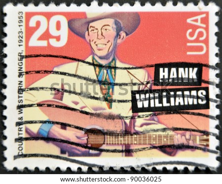 USA - CIRCA 1993 : stamp printed in USA showing Hank Williams American country and western singer, circa 1993 - stock photo