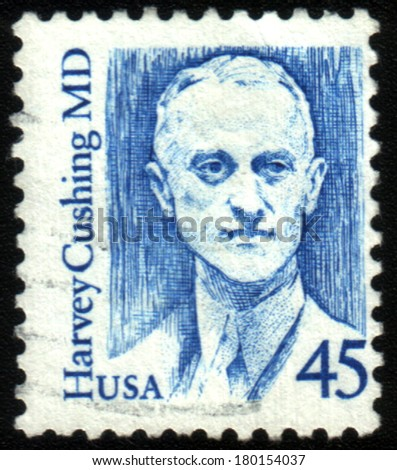 USA - CIRCA 1989: stamp printed in USA shows of Harvey Williams Cushing American neurosurgeon and a pioneer of brain surgery, circa 1989