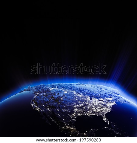 USA city lights at night. Elements of this image furnished by NASA