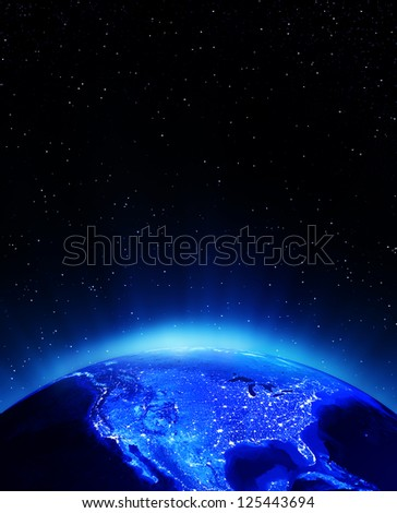USA city lights. Elements of this image furnished by NASA - stock photo