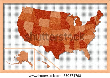 Large Detailed Map United States America Stock Vector - Corkboard us map