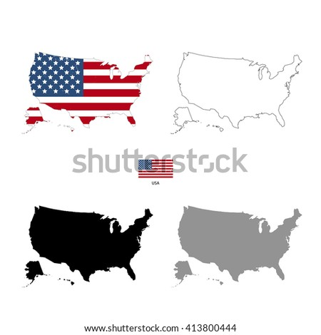 USA country black silhouette and with flag on background, isolated on white - stock photo