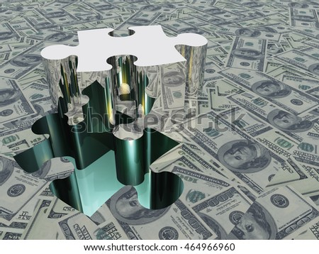USA Currency Puzzle 3D Render