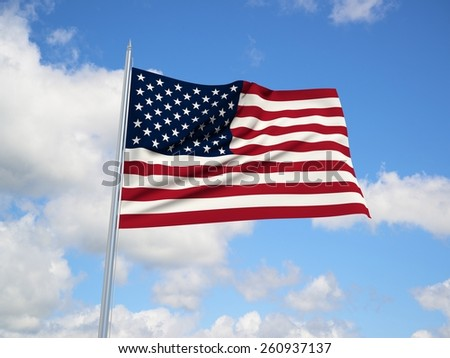 USA 3d flag floating in the wind. 3d illustration.