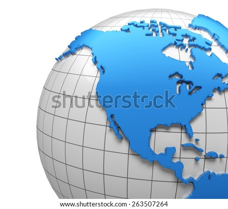 USA. 3D. Globe of USA with national borders, two clipping paths provided - stock photo