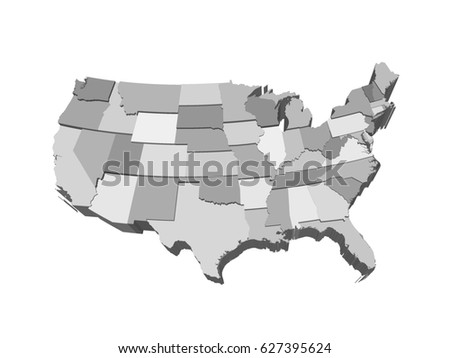 Usa 3d Map Extruded In Perspective Detailed Ilration With Separated States Of Different Height