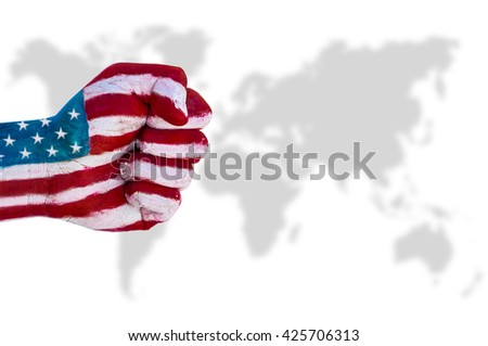 USA demonstration of the power of a strong fist on world background