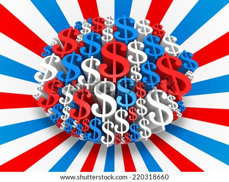 USA Dollar sign in the colors of the flag. Digitally Generated 3D Image. - stock photo