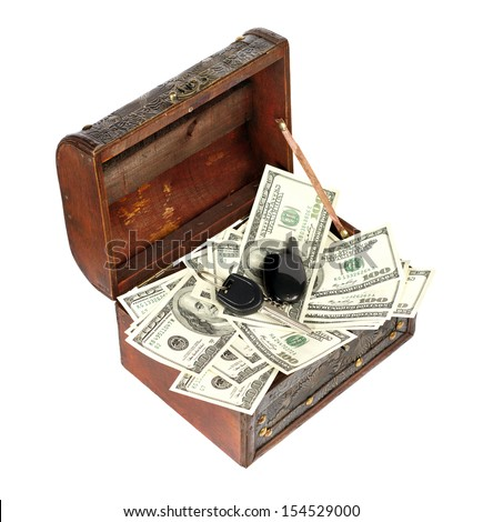USA dollars in box with car key, isolated on white background - stock photo