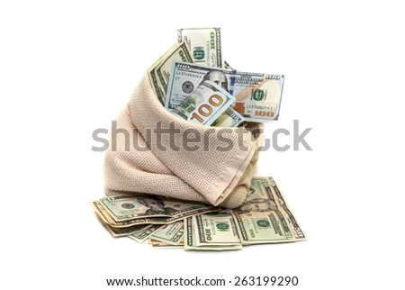 USA dollars in the bag isolated on a white background