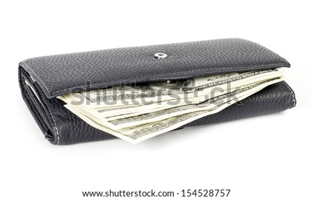 USA dollars in wallet, isolated on white background