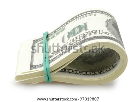 USA dollars isolated on a white background - stock photo