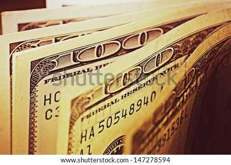 USA dollars. Macro image. - stock photo