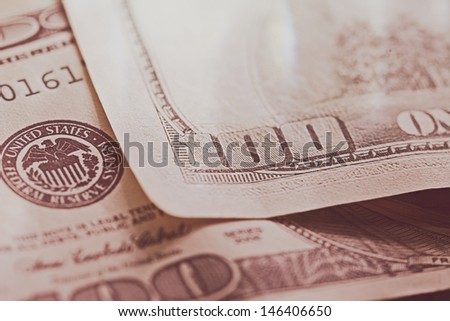 USA dollars. Macro image with selective focus. Toned image. - stock photo