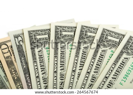 usa dollars money background nominal value one, five, ten and twenty isolated on white - stock photo