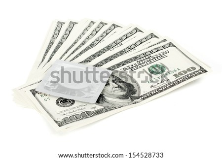 USA dollars with condom,  isolated on white background
