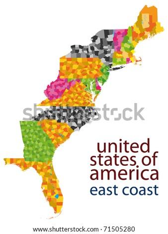usa east coast map - stock photo
