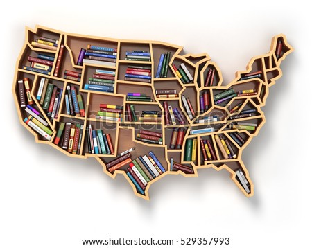 Usa education market books concept book stock illustration 529357993 usa education or market of books concept book shelf as map of usa 3d gumiabroncs Image collections