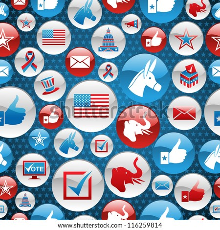 USA elections glossy buttons icon seamless pattern background. - stock photo
