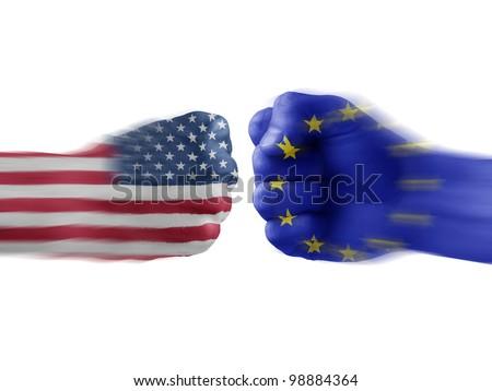USA & EU - disagreement - stock photo