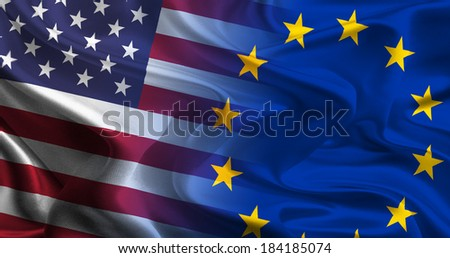 USA - EU Flags waving together - stock photo