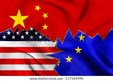 USA, Europe and China flag, Interaction and trading.
