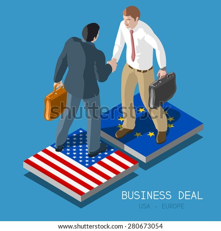 USA Europe Transatlantic Trade and Investment Partnership TTIP Handshake to Succeed .Flat 3d Isometric Concept Two Businessmen Shaking Hands on Flag Tiles. Infographic - stock photo
