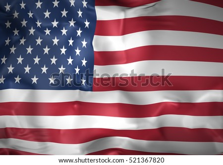 USA Flag, American Background, United States of America (3D Render)