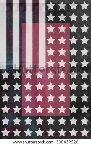 USA flag.American flag with grunge texture.Vector template. - stock photo
