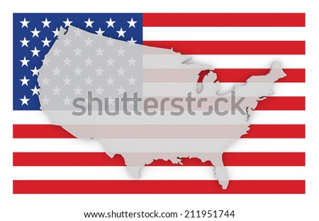 usa flag and map 3d