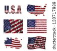 USA flag and map in different styles in different textures - stock photo