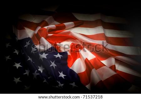 USA flag as dark background - stock photo