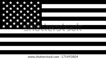 USA Flag - Black and white composition. - stock photo