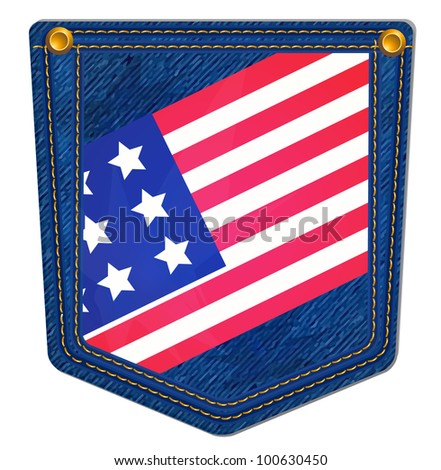 USA Flag Blue Jean Pocket - Jean Pocket decorated with the USA flag and gold stitching - stock photo