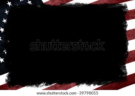 USA flag border - stock photo